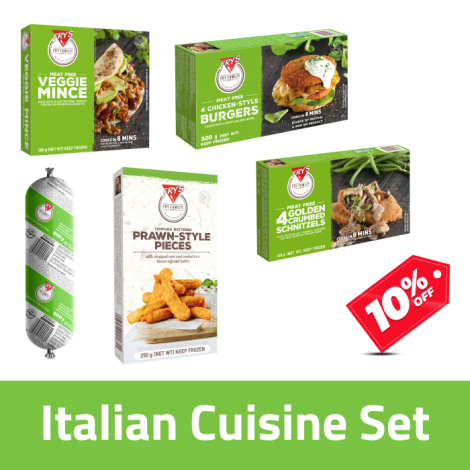 Fry's Italian Cuisine Pack - Fry's Italian Cuisine Pack Contains: Fry's Veggie Mince x1, Fry's Chicken Style Burger x1, Fry's C…