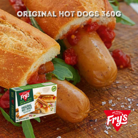 Fry's Original Hot Dogs 8pc 360g - A winner with the kids' vegetarian lunchboxes – and just about anyone who loves a good hot d…