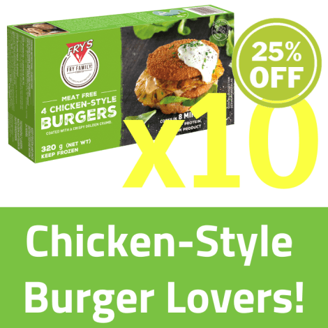 Fry's Chicken Style Burger SET 10 x  320g (Extended Shelf Life) - Fry's Chicken Style Burger SET 10 X 320g Set Contains: - Fry'…