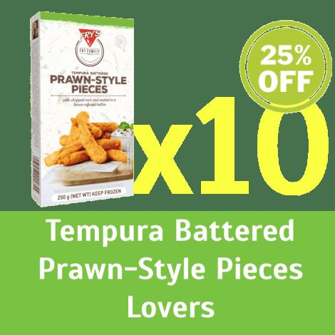 Fry's Tempura Battered Prawn-Style Pieces SET 10 x  250g (Extended Shelf Life) - Fry's Tempura Battered Prawn-Style Pieces SET …