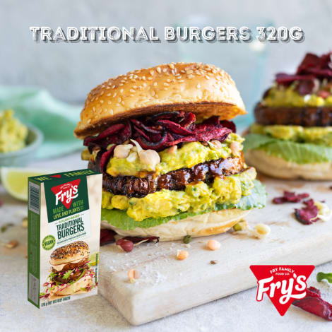Fry's Traditional Burgers 4pc 320g (Extended Shelf Life) - These plant-based patties are chunky and delicious, with an authenti…