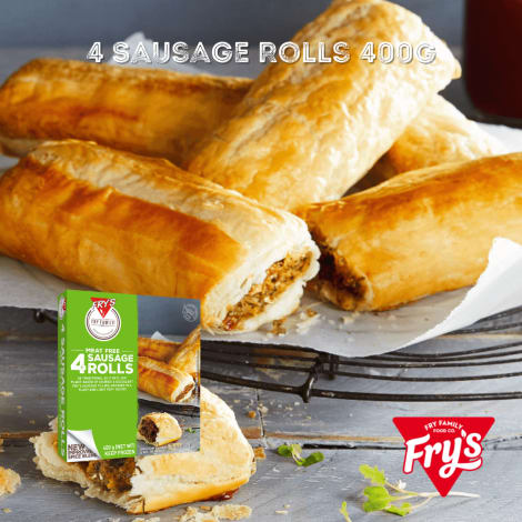 Fry's Sausage Roll 4pc 400g - A succulent sausage filling, encased in a flaky and light puff pastry, makes these plant-based Sa…