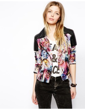 asos-floral-print-biker-jacket by asos-collection