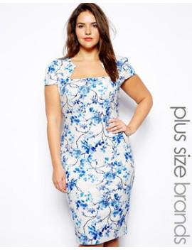 lipstick-boutique-plus-blue-floral-print-pencil-dress by lipstick-boutique-plus