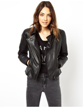 asos-leather-biker-jacket-with-quilt-detail by asos-collection