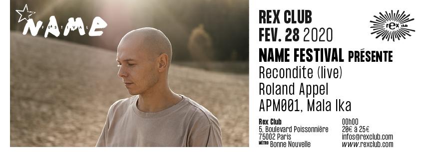 Name Festival: Recondite Live, Roland Appel, Apm001, Mala Ika