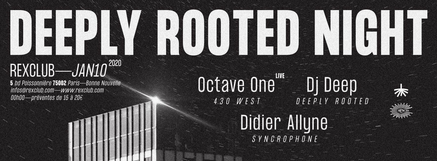 Deeply Rooted Night: Octave One Live, DJ Deep, Didier Allyne