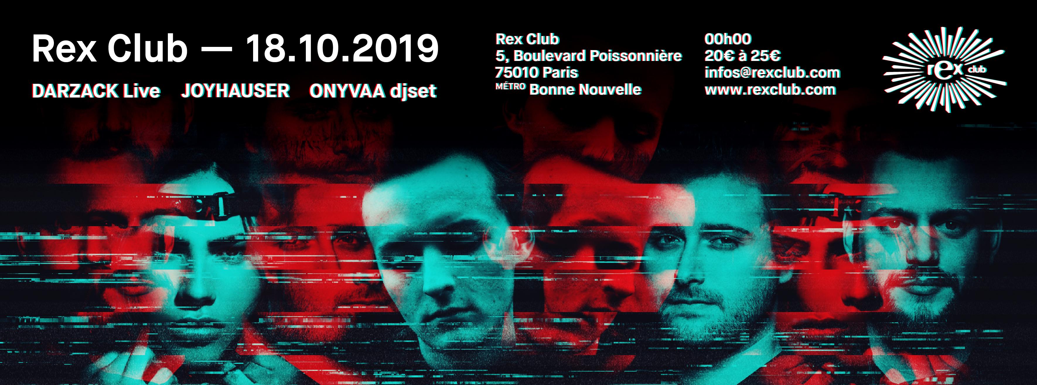 Rex Club presente: Darzack Live, Joyhauser, Onyvaa