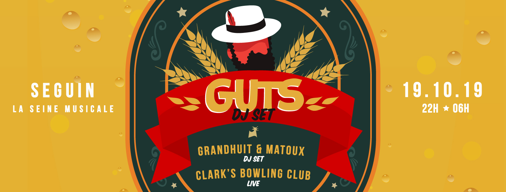 SEGUIN : GUTS (dj set) / GrandHuit & Matoux / Clark's Bowling Club (live band)