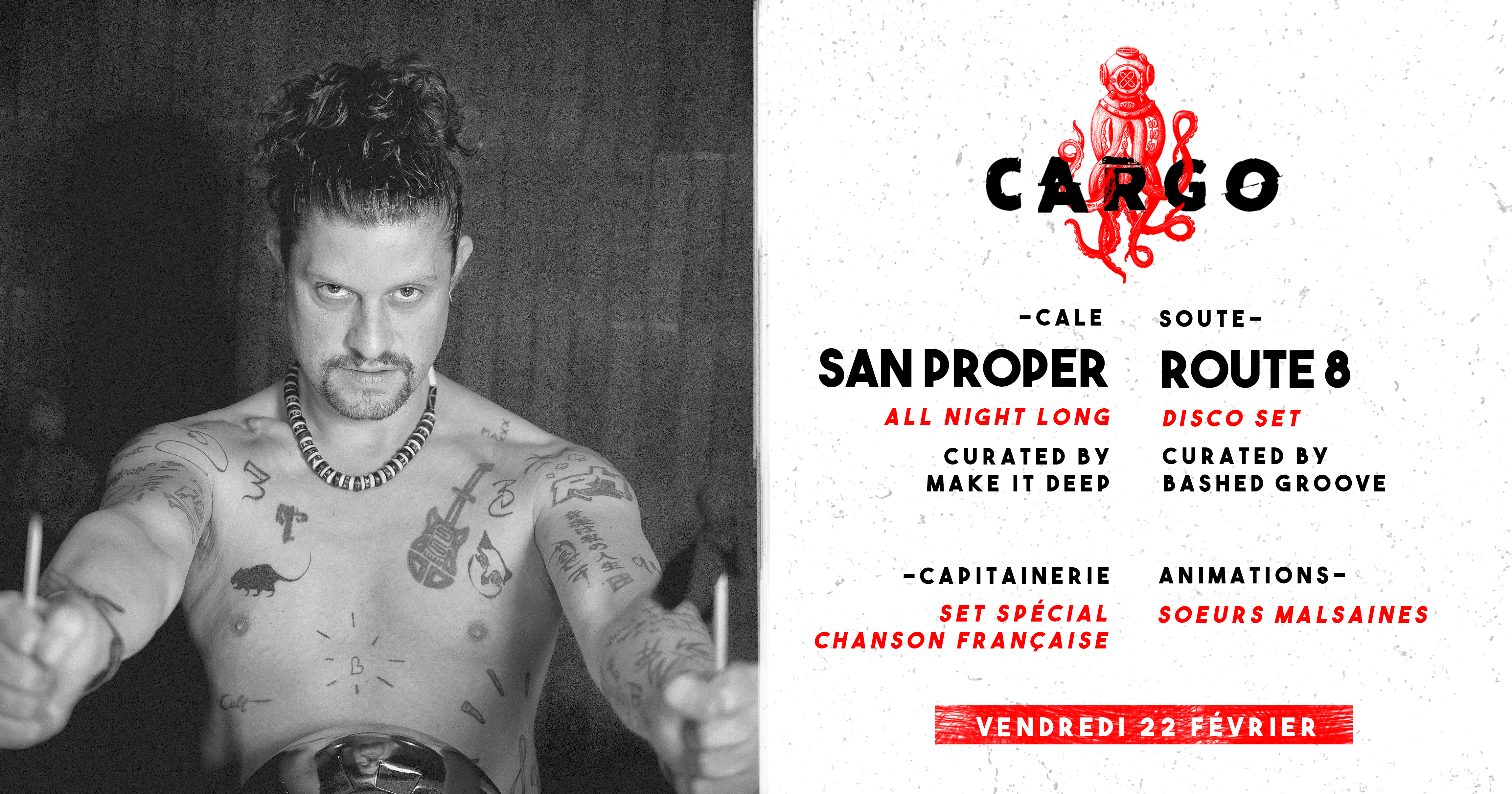 CARGØ : San Proper all night long / Route 8 disco set / Make it Deep & Bashed Groove