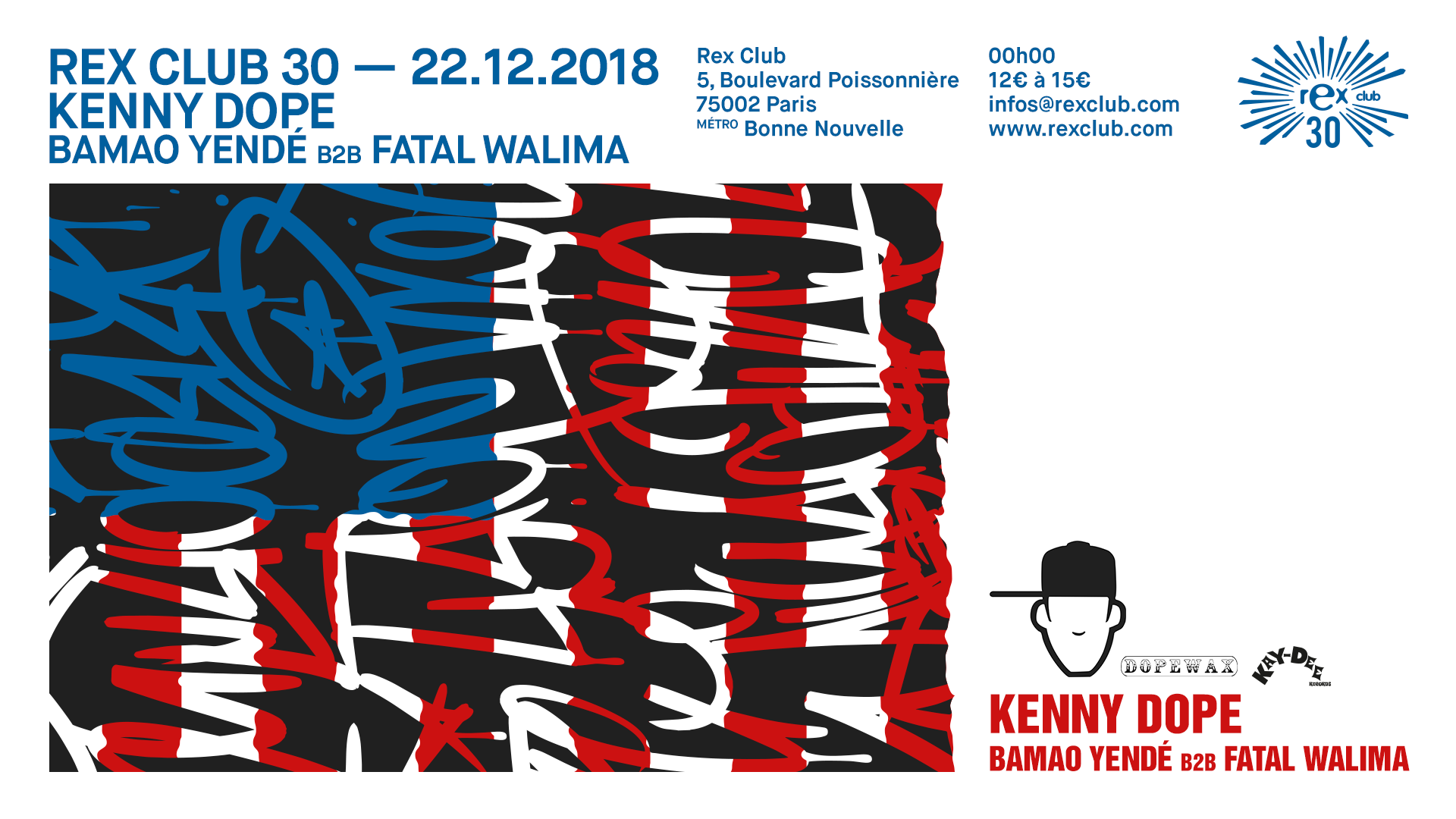 Rex Club 30 Présente: Kenny Dope, Bamao Yendé b2b Fatal Walima
