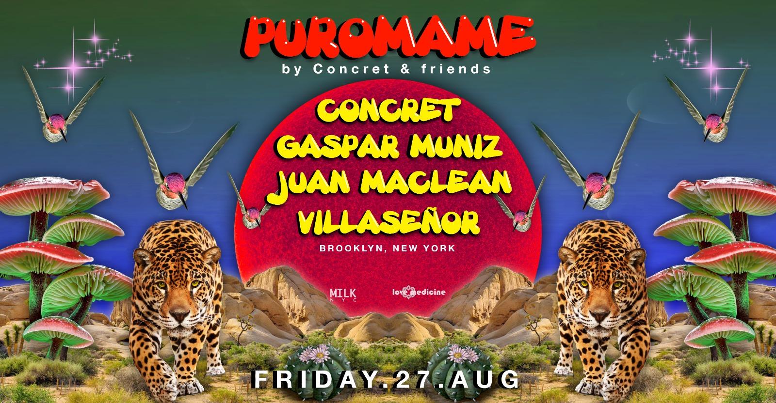 POSTPONED~PURO MAME ~ CONCRET, GASPAR MUNIZ, JUAN MACLEAN, VILLASEÑOR