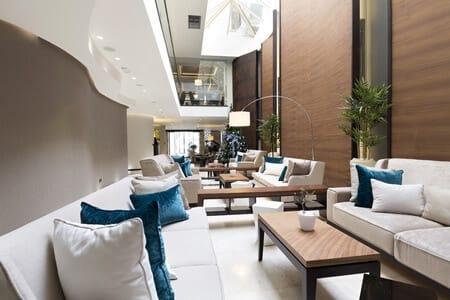 modern tech friendly luxury hotel lobby