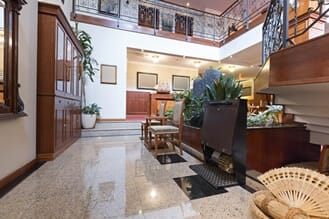 marble floors and storied lobby