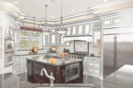 line drawing of kitchen island