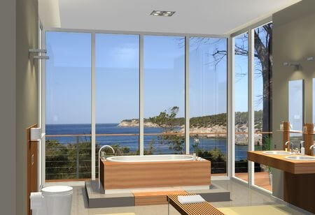 sauna or bathtub in foreground with beach view