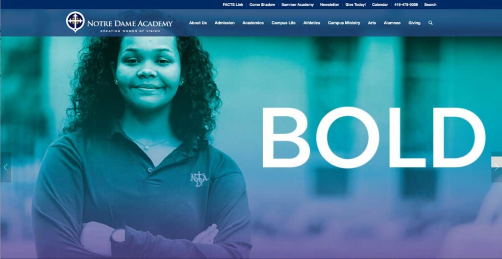 BOLD -- Notre Dame Academy, private school for girls home page featuring a proud young woman, arms crossed and smiling