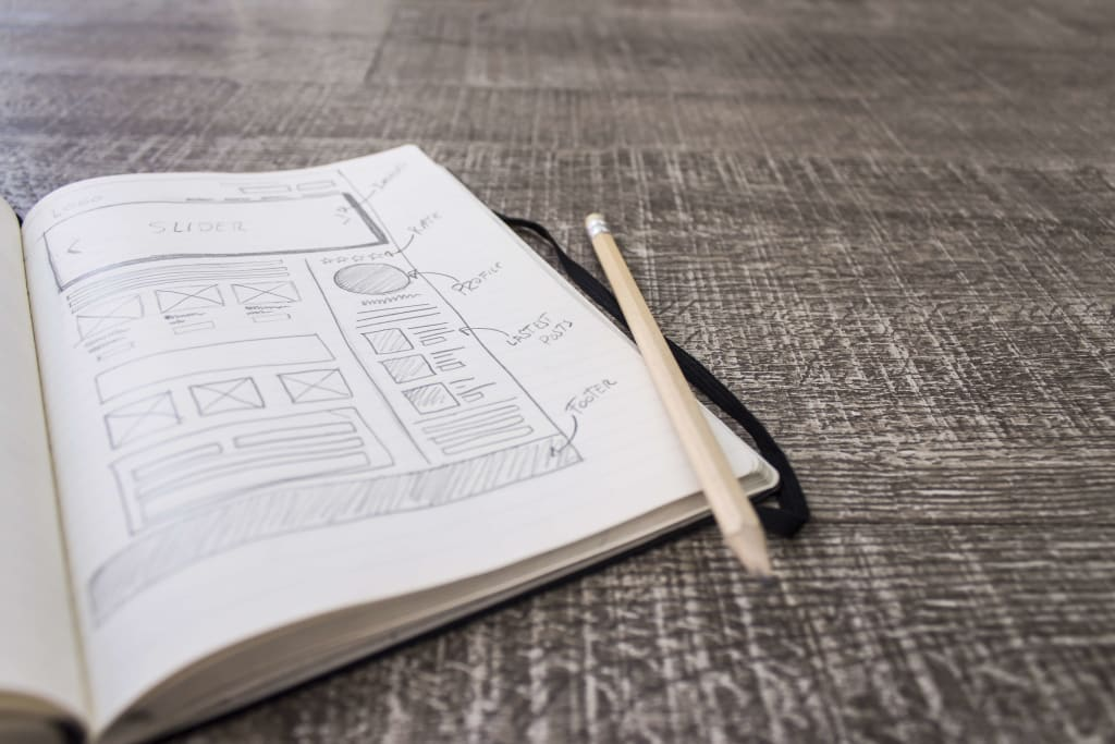 Web design layout sketchbook