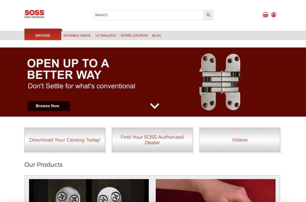 Soss catalog website, promoting hinge and ultralatch handle products, catalog download and hinge calculator