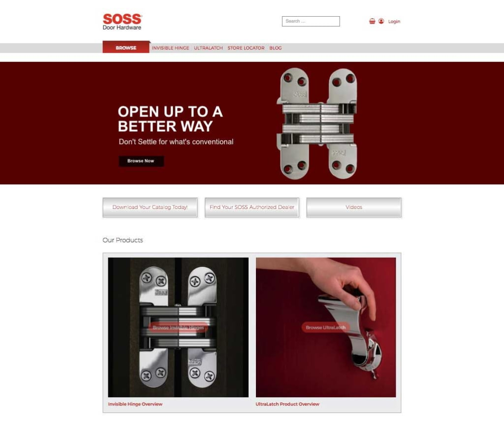 Soss catalog landing page image showing the hinge and handle products, links to catalog and distributor locations page