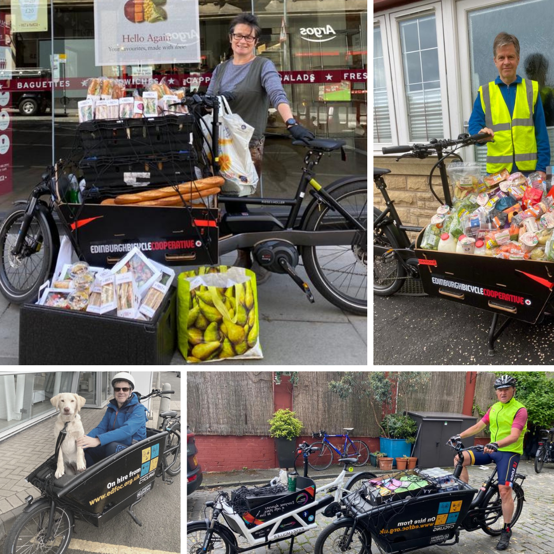 a collection of images of people posing with cargo bikes full of rescued food and one dog