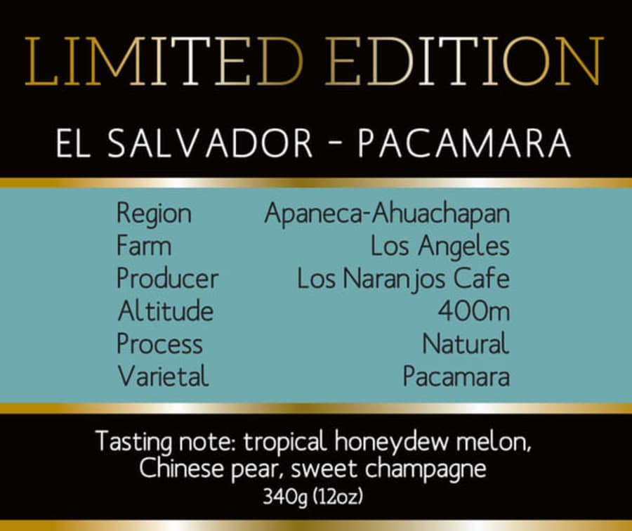 Barocco Limited Edition - El Salvador Pacamara | Barocco Coffee Company