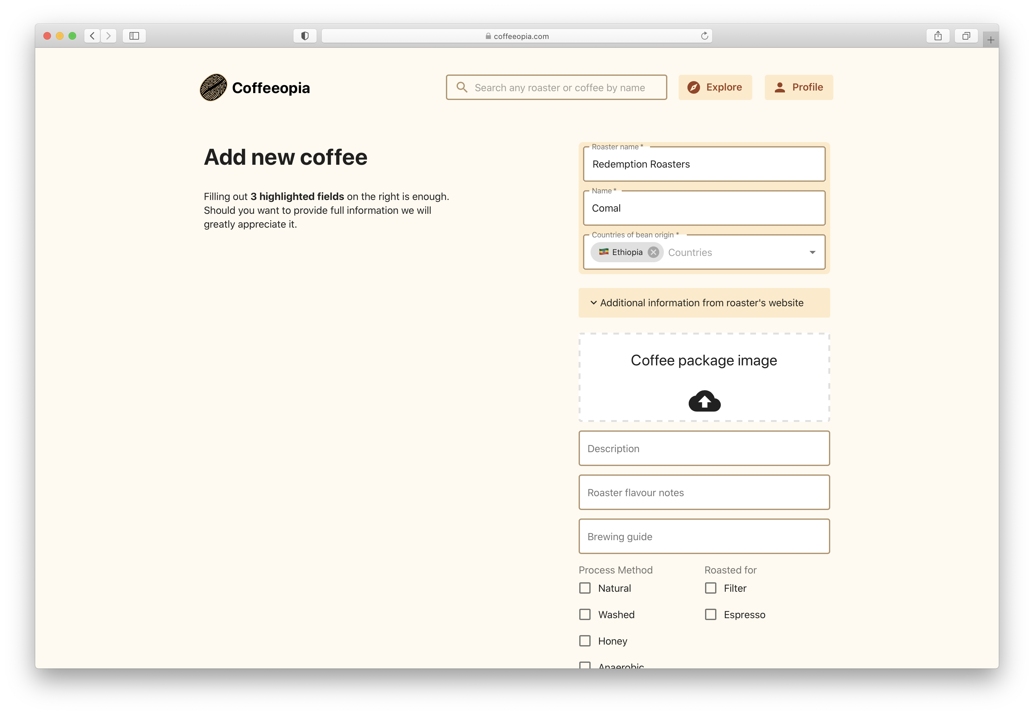 All fields for the coffee item to be added on Coffeopia
