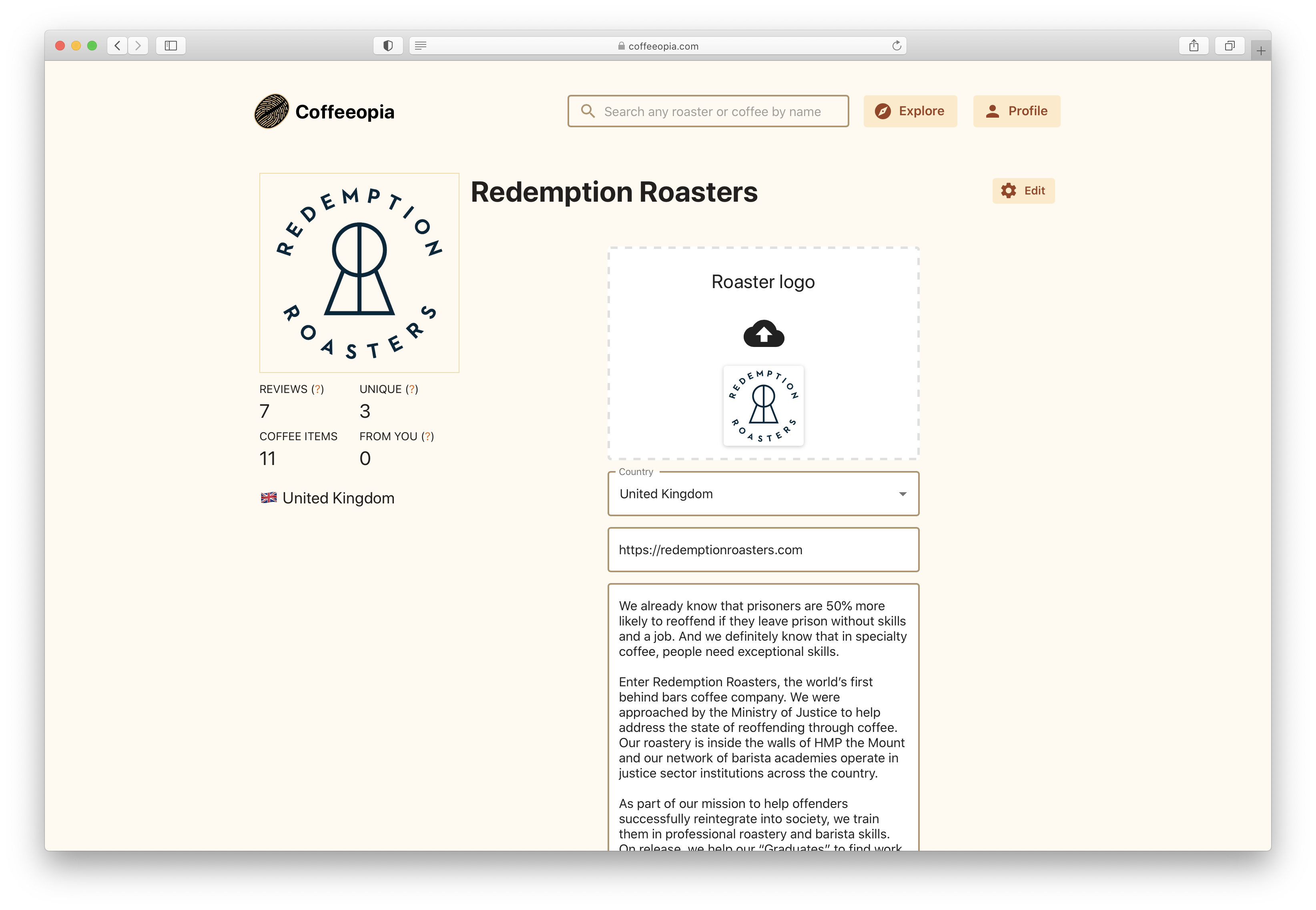 Editing fields of Coffeeopia roaster page information
