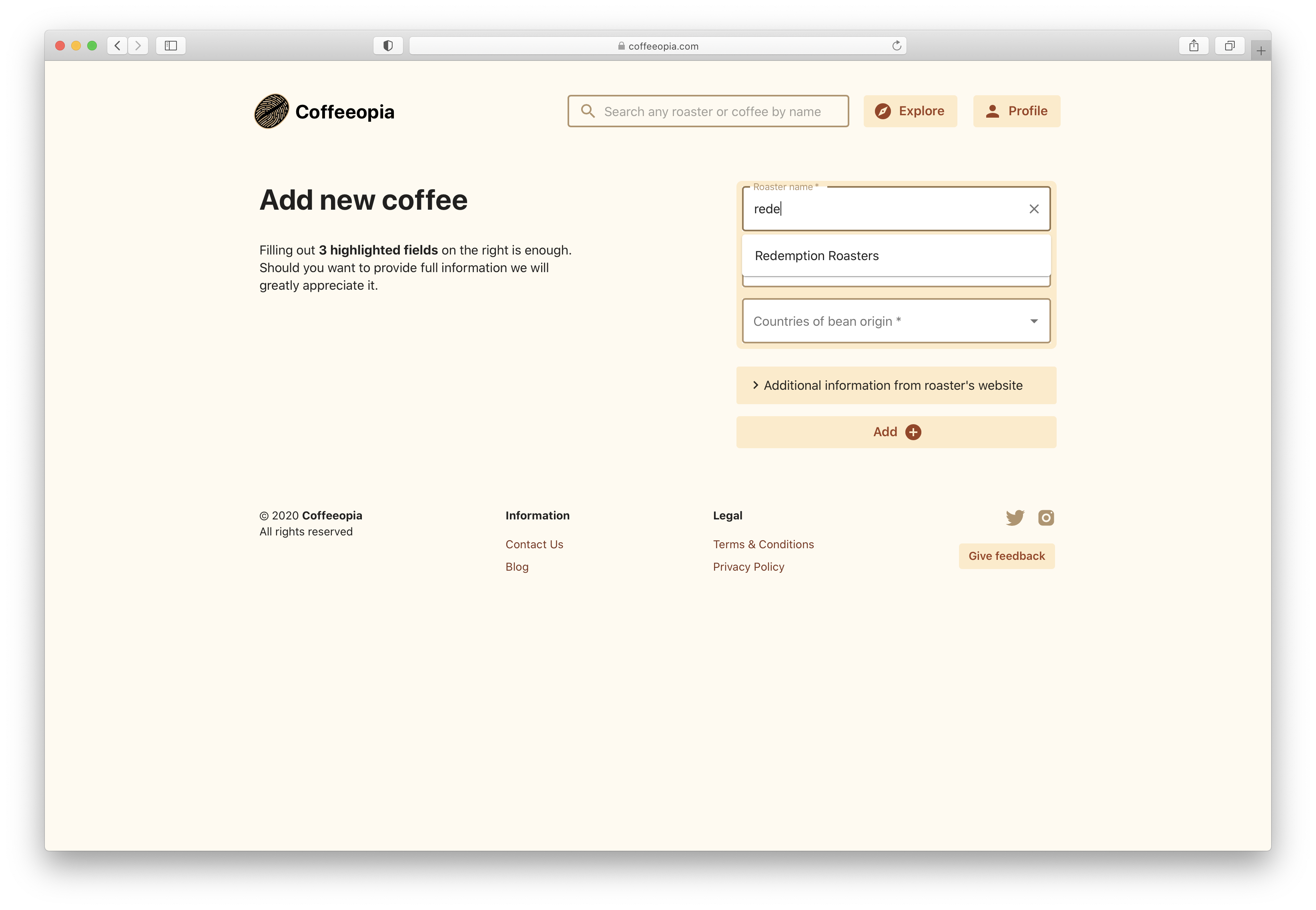 Adding a coffee item to an existing roaster on Coffeeopia