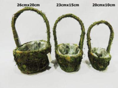 Set 3 cestas ramas verdes...