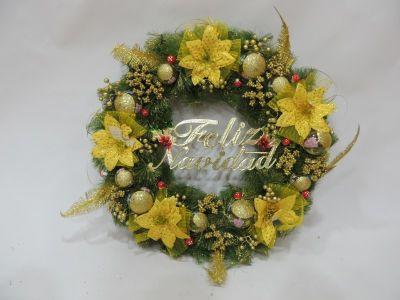 Corona navidad color dorado...