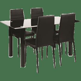 פינת אוכל 4 כסאות ונציה שחור HOMAX