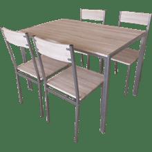 שולחן + 4 כסאות חום בהיר  110/70ס