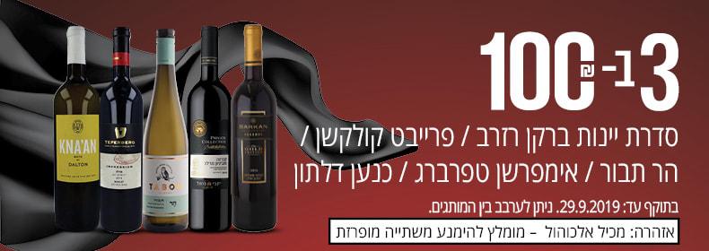 ב- 100 ₪ על סדרת יינות ברקן רזרב/ פרייבט קולקשן/ הר תבור/ אימפרשן טפרברג/ כנען דלתון.  ניתן לערבב בין המותגים. בתוקף עד 29.9.19.   אזהרה: מכיל אלכוהול – מומלץ להימנע משתייה מופרזת.