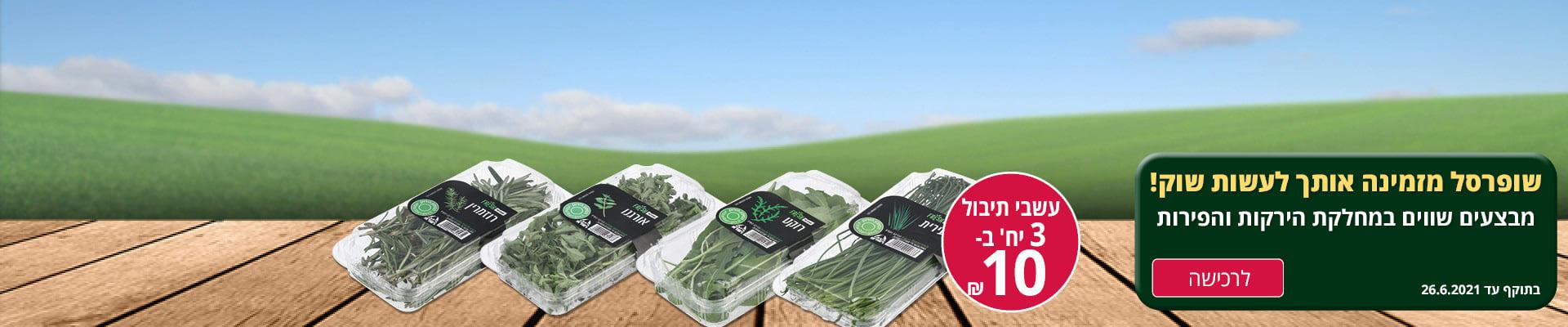 שופרסל מזמינה אותך לעשות שוק !מבצעים שווים במחלקת הירקות והפירות עשבי תיבול 2 יח' ב- 10 ₪ לרכישה בוקף עד 12.6.2021