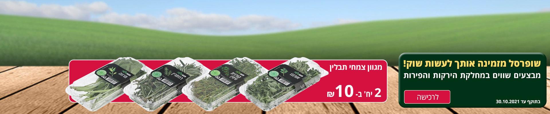 שופרסל מזמינה אותך לעשות שוק! מבצעים שווים במחלקת הירקות והפירות. מגוון צמחי תבלין 2 יח' ב- 10 ₪. בתוקף עד 30.10.2021