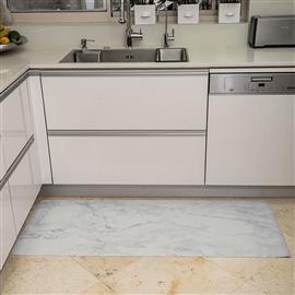 שטיח PVC למטבח - שיש לבן