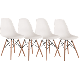 סט 4 כסאות רטרו לבן