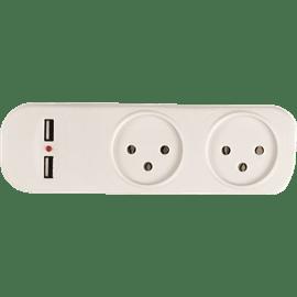 מפצל חשמל 1ל-2+USB
