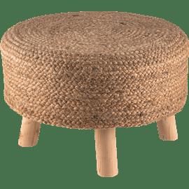 שרפרף עץ עם יוטה קלוע