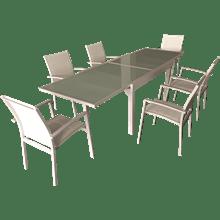 שולחן + 6 כסאות לבן