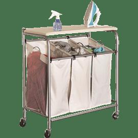 סל כביסה 3 תאים עם קרש