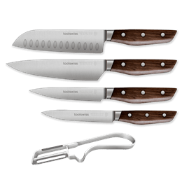 סט 5 סכינים וקולפן