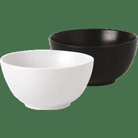 צלחת מרק קרמיקה שחור לבן