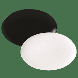 צלחת הגשה אובלי שחור לבן