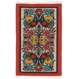 שטיח כותנה מודפס אפור