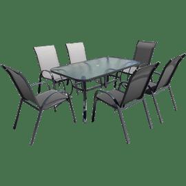 פינת אוכל וגאס + 6 כסאות