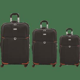 שלישית מזוודות בד כחול