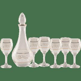 סט קארף+כוסות עיטור זהב