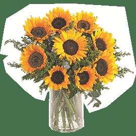 זר חמניות 9 פרחים